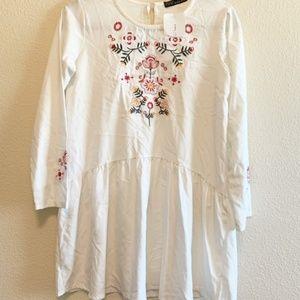 NWT Zara Basic Women's Embroidered Dress